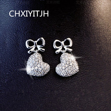925 Sterling silver Stud earrings Personality heart-shaped pendant Womens fashion jewelry wholesale