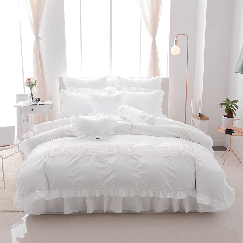 White Lace Ruffles Korea style Bedding Sets Twin Full Queen King Double size 4 7pcs bed