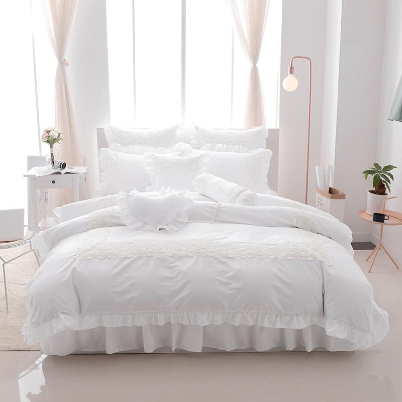 Weiß Spitze Rüschen Korea stil Bettwäsche sets Twin Voll Königin König Doppel größe 4/7 stücke bett rock set bettbezug set für mädchen gfts-in Bettwäsche-Sets aus Heim und Garten bei  Gruppe 1