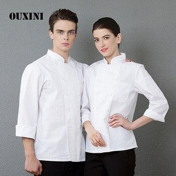 fb220464193 Calidad restaurante Hotel Top Chef mesero chaqueta de manga larga cocinar  disfraz panadero peluquero uniformes cocina maestro ropa de trabajo  uniformes