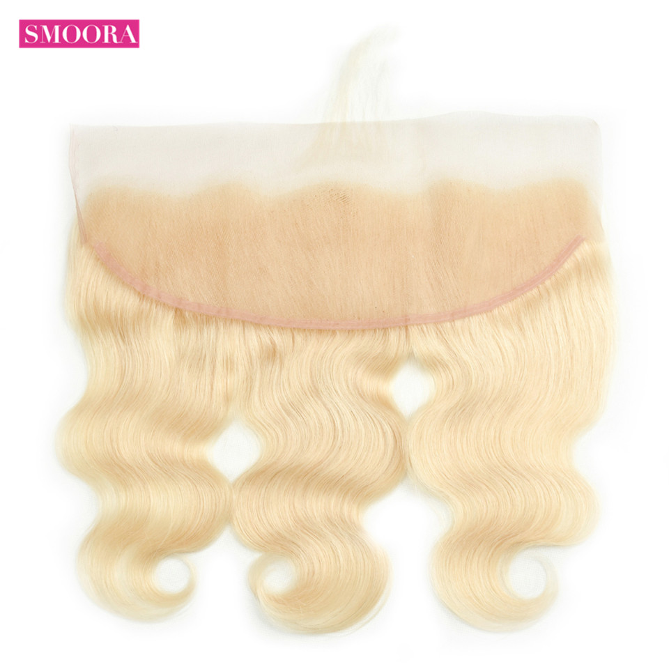 Brazilian Human Hair #613 Bleach Blonde Lace Frontal Closure 13x4 Free Part Body Wave Non Remy Light Blonde Lace Frontal 130% image