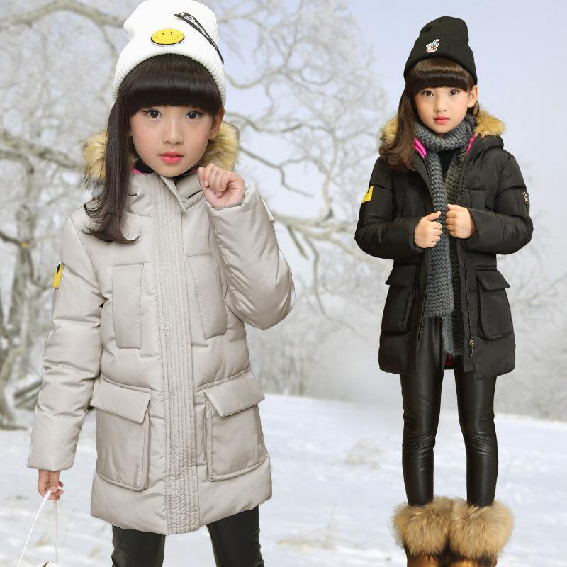 Russia 2017 children outerwear baby girl winter wadded jacket girl warm thickening parkas kids fashion cotton