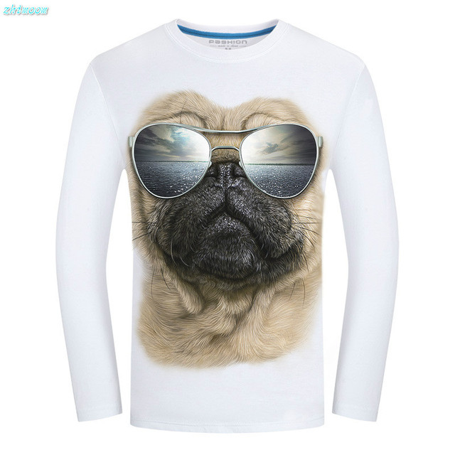 Boy Child Shirt White Black Fashion O-neck 3d Printed Cute Dog Cotton T-shirt Men Long Sleeve T Shirt Men for 15 16 Years Tops