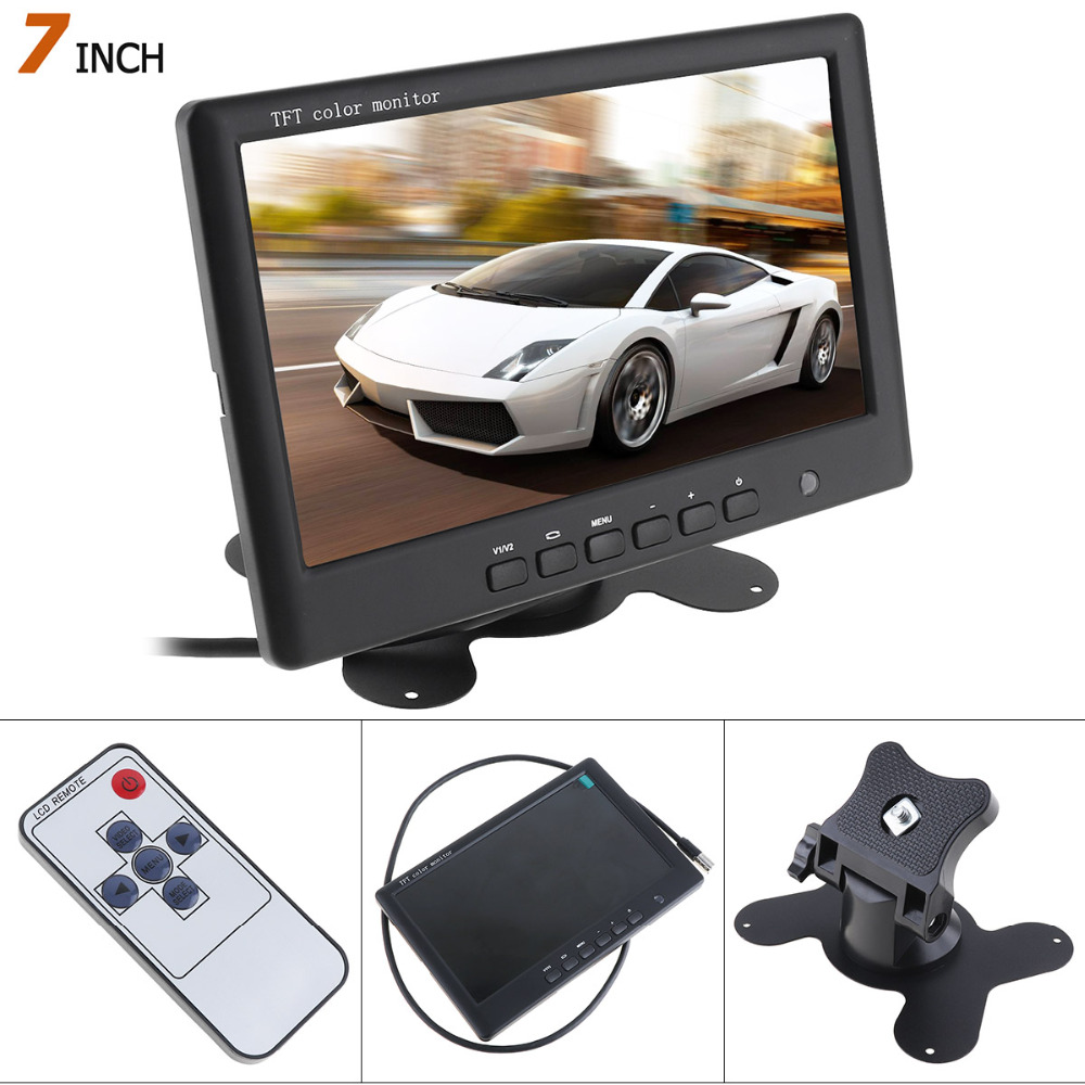 HD 800 x 480 Super Thin 7 Inch Car Monitor TFT Car LCD Monitor Color LCD 2 Channels Video Input Car Rear View Monitor in Car Monitors from Automobiles Motorcycles