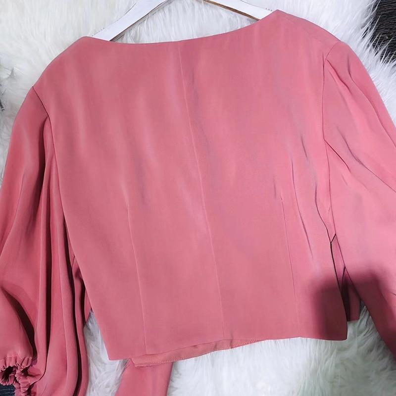 Casual Media Primavera Rosa De Corta Blusa Para Camisas cuello Mujer Moda 2019 Manga Las Nueva Mujeres rAzwqWxX6A