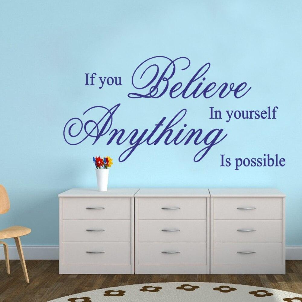 Believe in yourself-вдохновенный стены Цитата Стикеры виниловая наклейка Книги по искусству дома 16 x 28 s