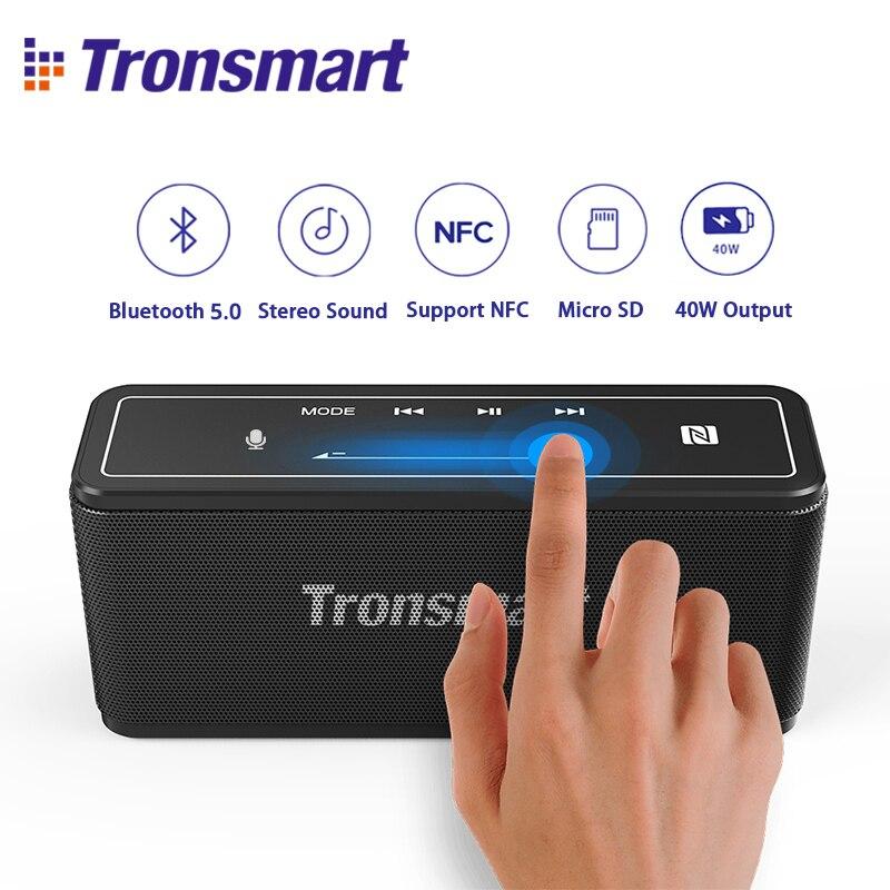 Tronsmart Mega Bluetooth 5.0 Speaker Speaker Portátil Soundbar 40W Colunas Controle de Toque apoio Assistente de Voz, NFC, TWS, MicroSD