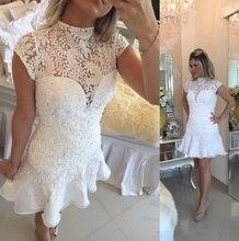 Elegante Kurze Weiße Spitze Ballkleider Mit Perlen Rüschen Ausschnitt Mit Kurzen Ärmeln Cocktail-kleid Homecoming Kleider Vestidos
