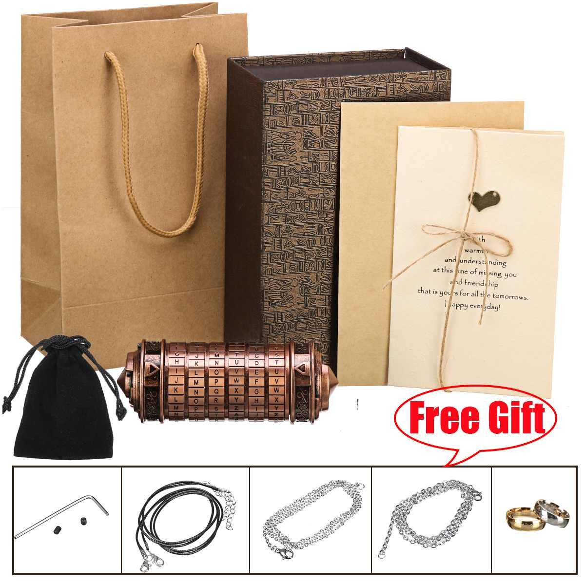 Rétro métal Vinci Code mot de passe Cryptex serrure boîte Mini mariage saint valentin cadeaux romantiques lettre mot de passe accessoires Science jouet - 6