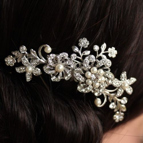 Fancy Wedding Bridal Hair Comb Jewelry Flower Pearl Crystal Tiaras Hair Accessories Sparkly Bride Hair Combs