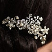 Fancy Wedding Bridal Hair Comb Jewelry Flower Pearl Crystal Tiaras & Hair Accessories Sparkly Bride Hair Combs In Stock