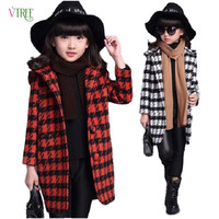 New Autumn Winter Teenage Girls Outwear Plaid Woolen Jacket Coat For Girl Trench Coat Kids Children