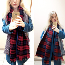Za Winter Women s Cashmere Scarf Plaid Double Sided Fashion Houndstooth Thicken Warm Pashmina Cape Brand