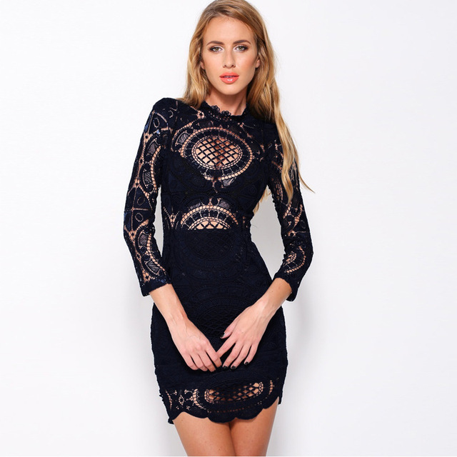 Embroidery Bodycon Bandage Dress