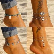 Tobilleras Boho multicapa con cuentas de tortuga para mujer, Luna Sol, cuerda de playa Vintage, pulsera de tobillo en la pierna, joyería de pie de verano