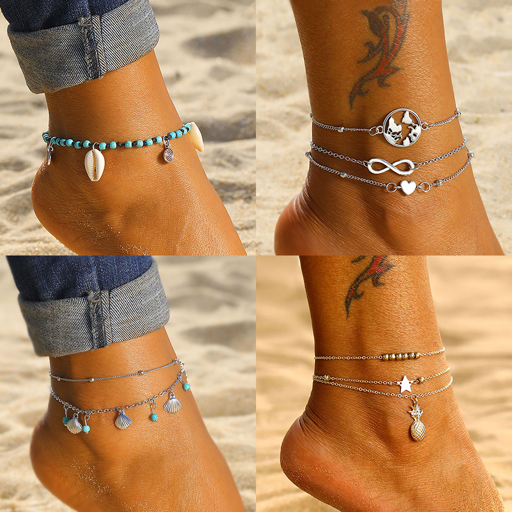 Boho Multilayer Turtle Shell Beads Anklets For Women Moon Sun Vintage Beach Rope Ankle Bracelet on Leg Summer Foot Jewelry