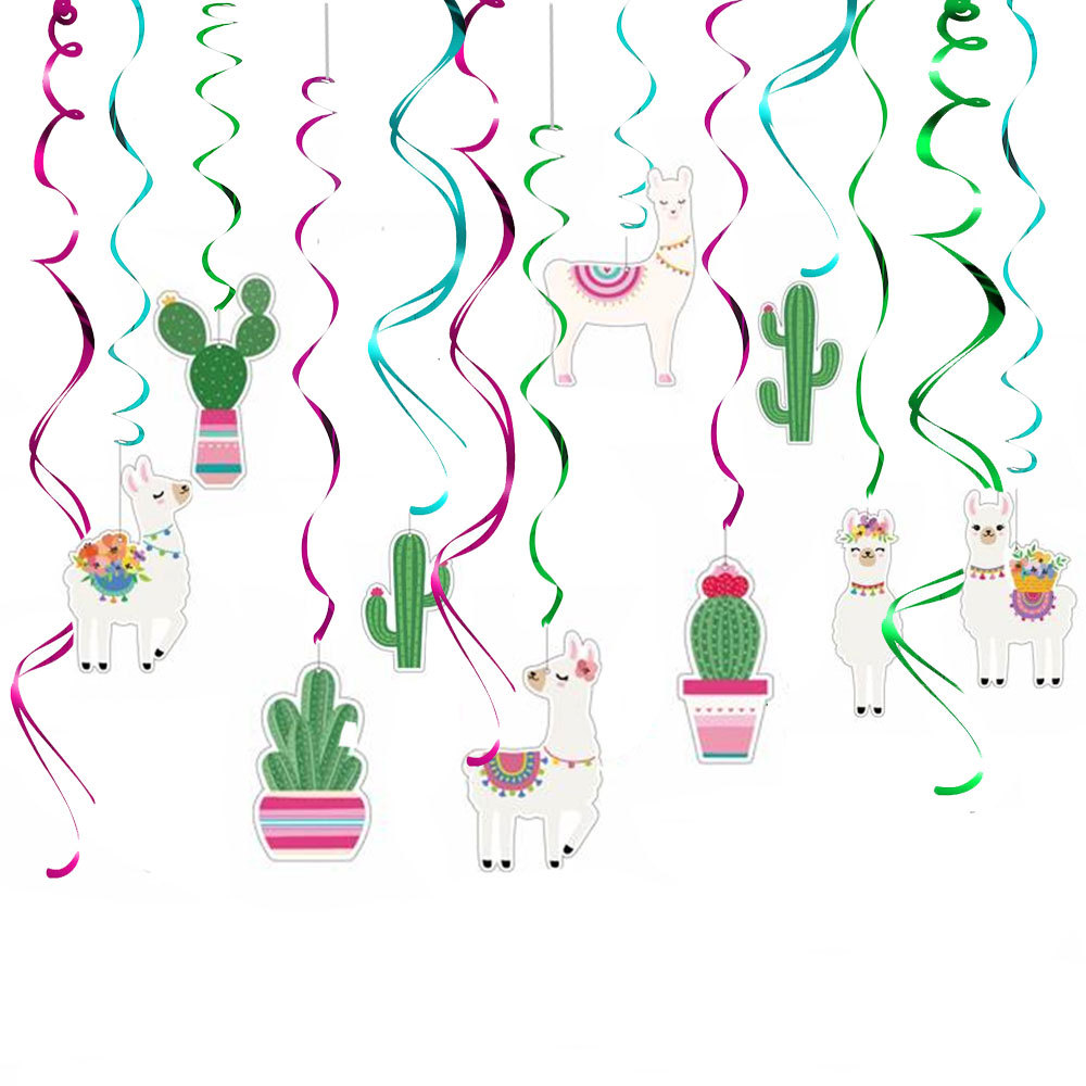 30pcs Llama Cactus Hanging Swirl Decorations, Llama Themed Birthday Party Supplies, Bolivian Peru Alpaca30pcs Llama Cactus Hanging Swirl Decorations, Llama Themed Birthday Party Supplies, Bolivian Peru Alpaca