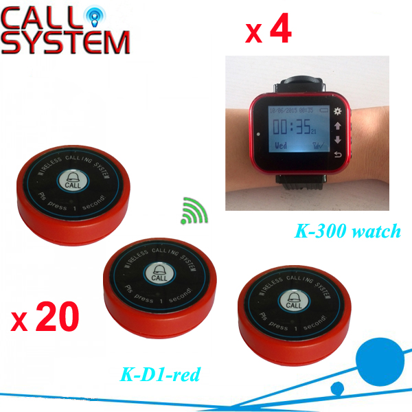 Restaurant call bell pager system 4pcs k-300plus wrist watch receiver and 20pcs table buzzer button with single-key restaurant pager watch wireless call buzzer system work with 3 pcs wrist watch and 25pcs waitress bell button p h4