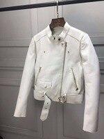 2018 spring women's fashion goat skin genuine leather sleeve removed white jacket
