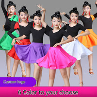 Multicolor Latin Dance Costume for Children Professional Competition Practice Dress Modern Salsa Tango Dance Wear for Stage