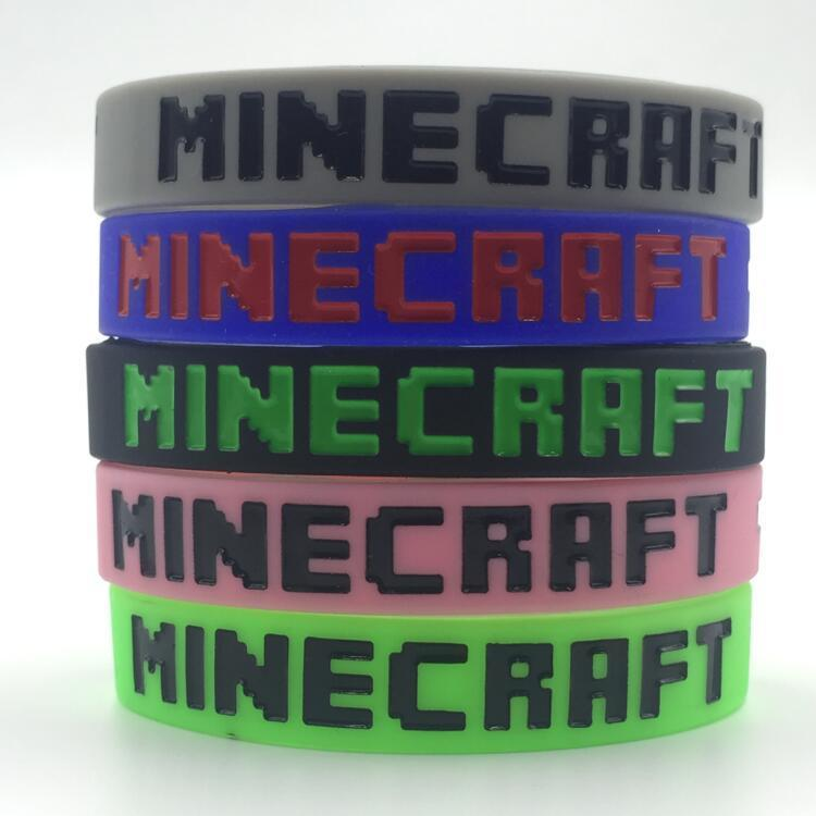 1 pc Free shipping 100% Silicone bracelet Super High Quality Sport wristband Minecraft fans must-have toy gift for kids