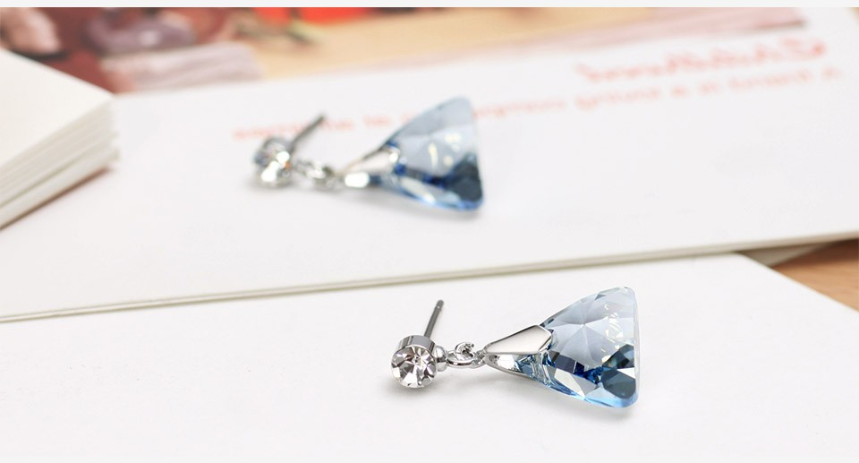 Blue Authentic Austrian Crystal Charm Dangle Drop Earrings