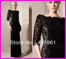 Unique Black Lace Long Sleeves Plus Size Satin Mother of the Bride Dresses Gowns M1284