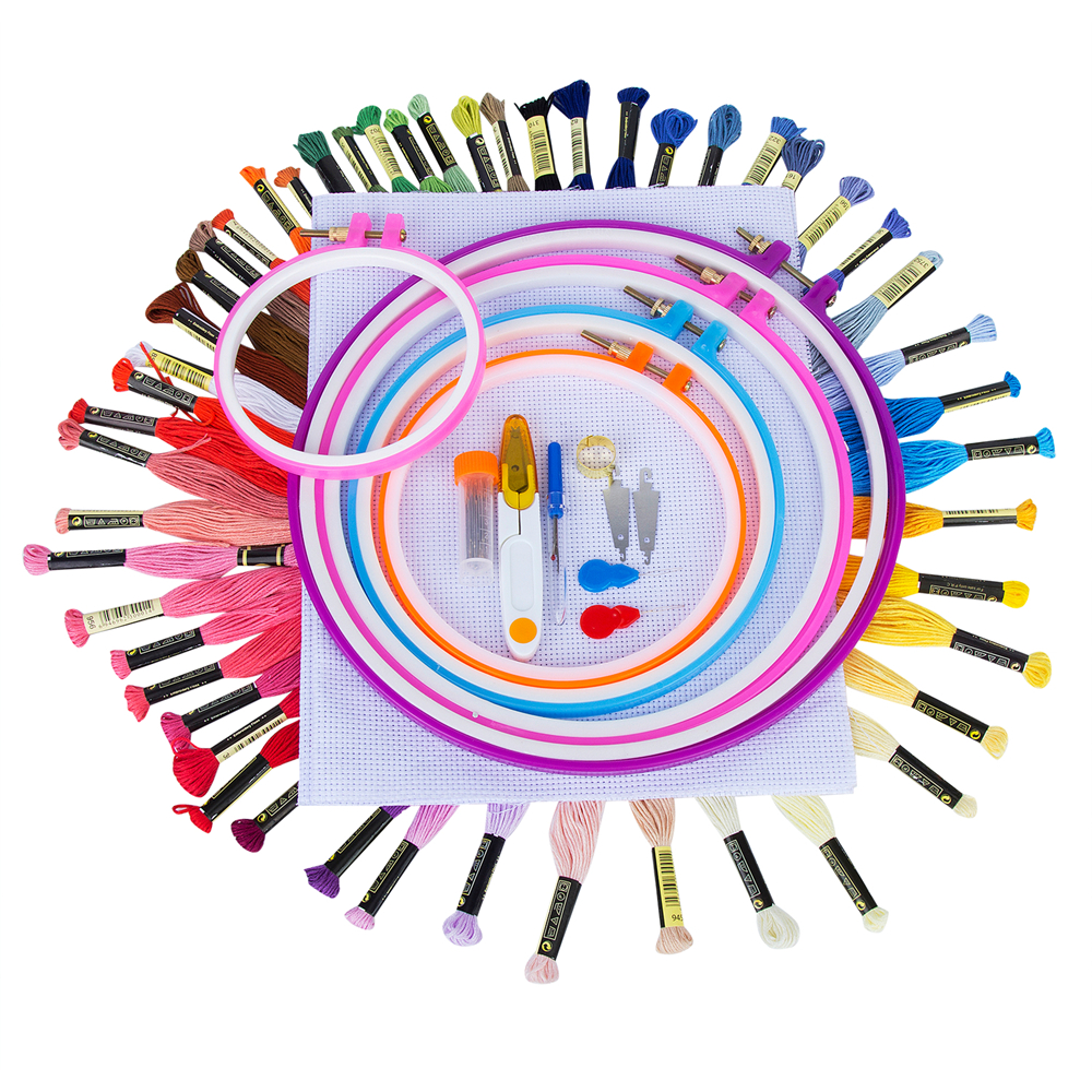 93Pcs/Set Cross Stitch Tool Kit Including 50 Color Threads 5Pcs Plastic Embroidery Hoop A Set of 38 Pcs Embroidery accessories