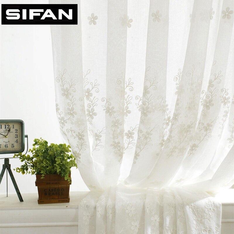 ヨーロッパのホワイトファンシー刺繍入りボイルカーテン用リビングルームチュールウィンドウカーテン用寝室薄手のカーテン