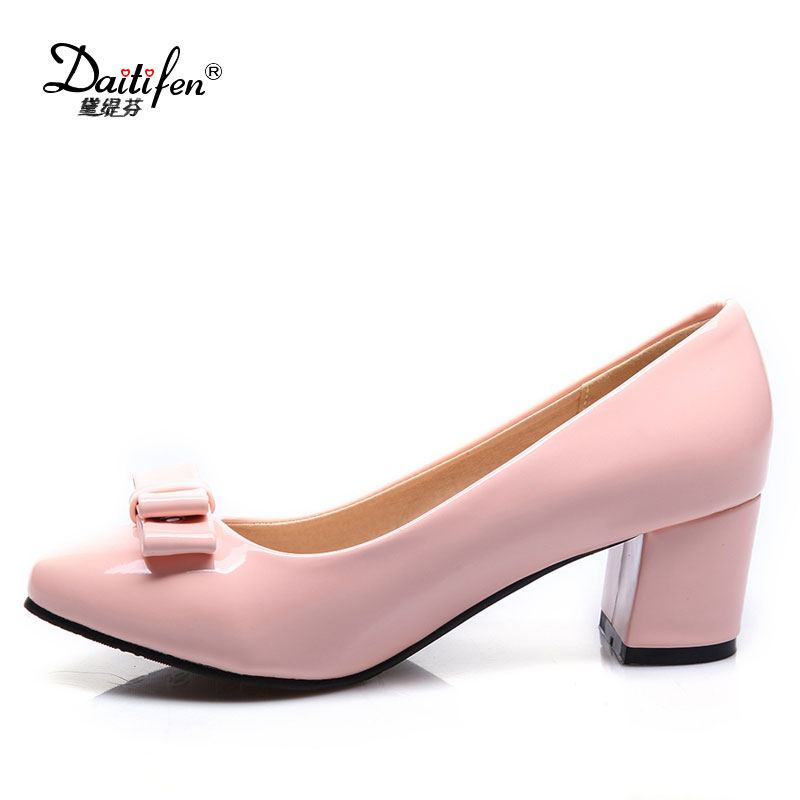 Daitifen Size 34-42 New 2017 Fashion Red Wedding Shoes Patent Leather Women Pumps Sexy Pointed Toe Bowtie High Heels Party Shoes new women patent leather high heels shoes wine red gray sexy pointed toe shoe for wedding party office career pumps smybk 020