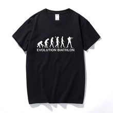Cool Evolution Biathlon Funny T Shirt For Man Casual Short Sleeve 100% Cotton O-neck Men's T-shirt Summer Tops Tee Male Clothing