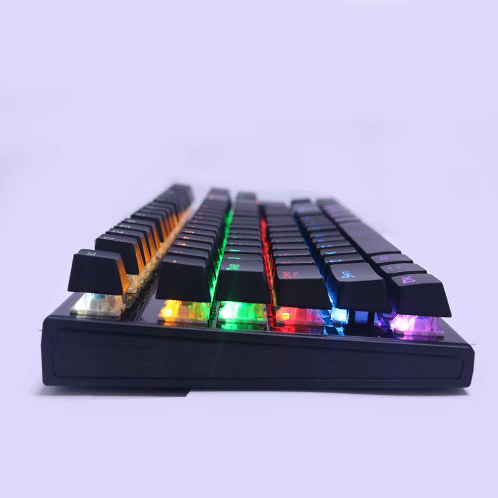 Оригинальная игровая механическая клавиатура с подсветкой, с защитой от привидений, синий переключатель 87, светящийся светодиодный Проводная клавиатура, подставка для ладони, русская наклейка