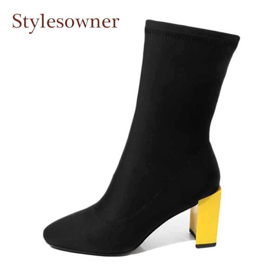 Фотография Stylesowner spring new yellow chunky high heel elastic women ankle boots square toe stretch sock boots black women shoes size 43