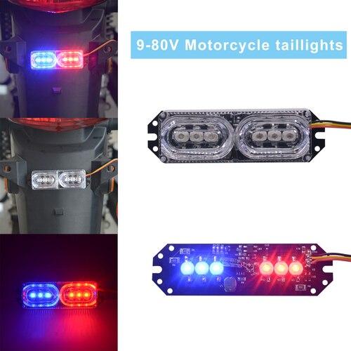 Motorcycle Strobe Tail Light LED Brake Light 9V-80V Wide Voltage Rear Tail Light Two-color Battery License Plate Light