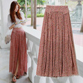 Free Shipping 2017 New Fashion Chiffon Beach Long Maxi Bohemian Flower Print Women Skirts With Slit Summer Style Floral skirts