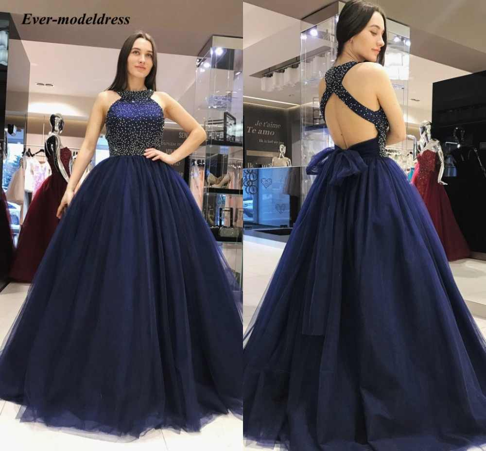 Elegant Bridesmaid Dresses 2019 Dark Davy Halter Backless Beaded Ball Gown Wedding Guest Party Gowns Country Vestido De Festa