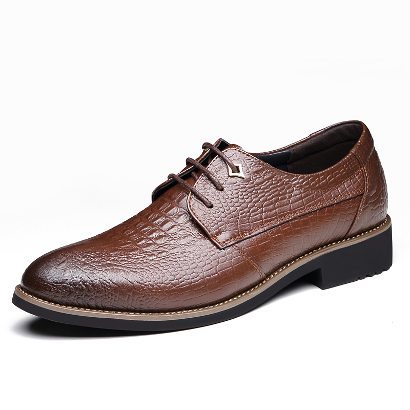 ФОТО Tauntte British Style Cow Leather Formal Shoes Men Crocodile Grain Business Shoes