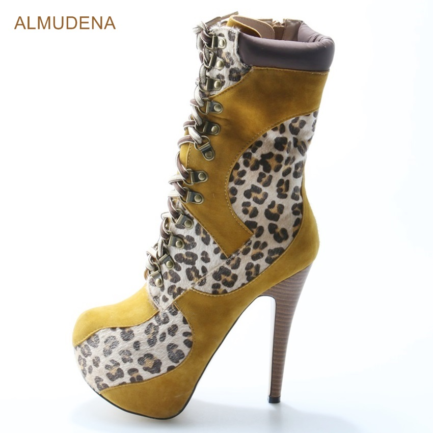 ALMUDENA Women Sexy Camel Suede Mid-calf Boots Leopard Horse Hair Patchwork Thin High Heel Dress Boots Lace-up Motorcycle Boots laconic women s mid calf boots with lace up and chunky heel design