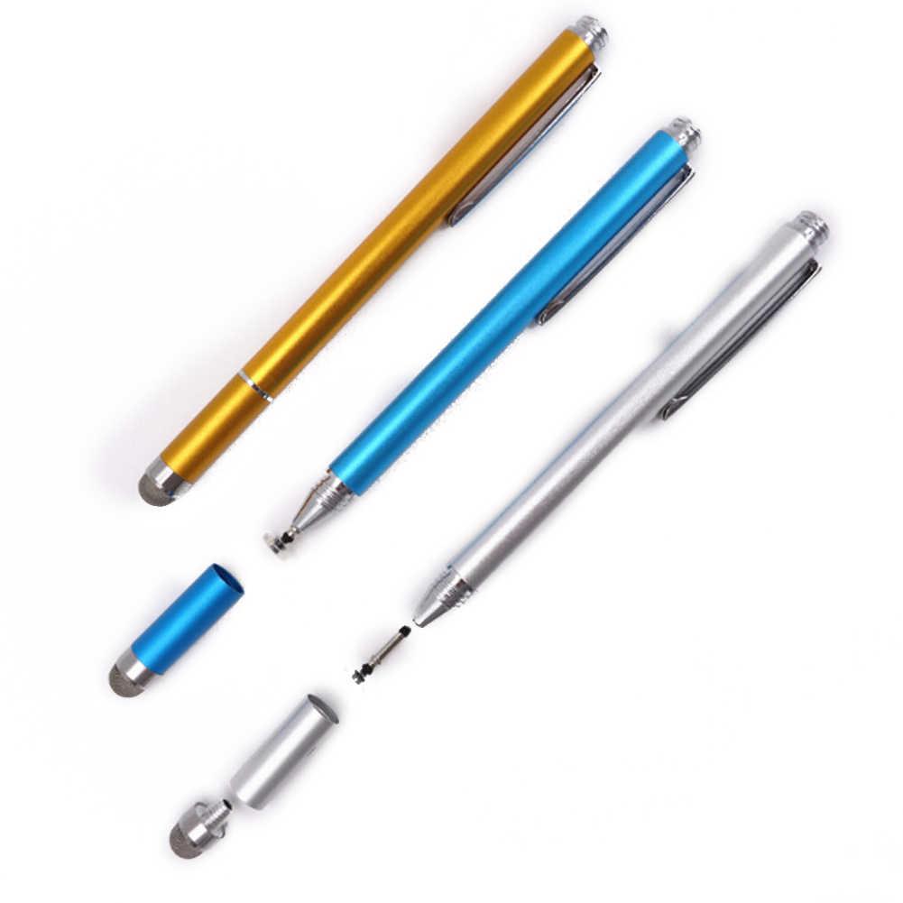 2in1 capacitivo caneta tela de toque desenho caneta stylus com toque condutor otário microfibra cabeça toque para tablet pc telefone inteligente