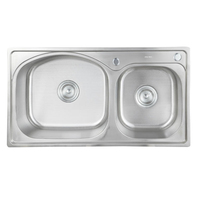 Stainless Steel Kitchen Sink Sets Brushed Thicken Double Bowl 780mm 430mm 820mm 430mm