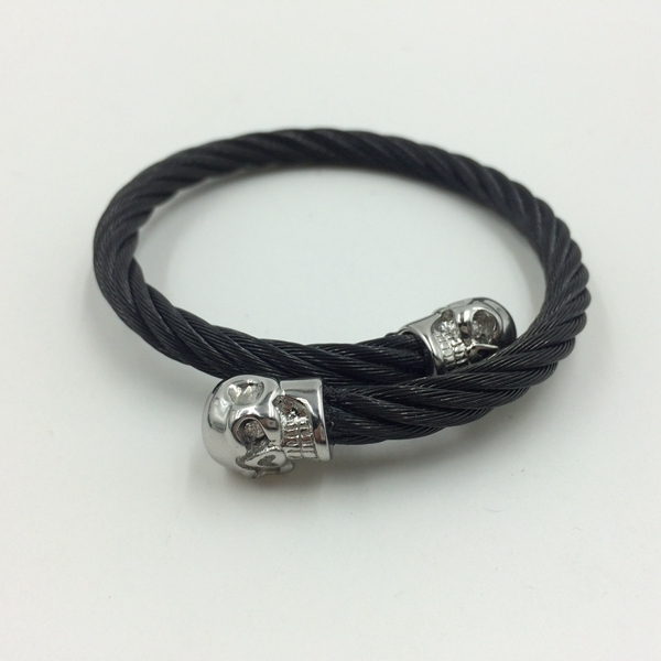 Stainless steel cable wire for twins skull expandable open cuff bangle men