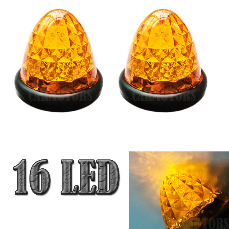 2X 3 Amber 16 LED Truck Car Bus Trailer Side Marker Lights Round Beehive Clearance Cab Top Roof Marker Bulbs