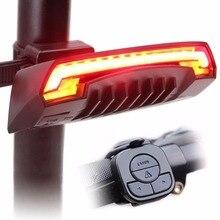 USB Recargable Ciclismo Bicicleta de La Luz Posterior de la Bici Señal de Vuelta de la Luz de Control Remoto Inalámbrico Inteligente Trasera LED de Luz Láser de Haz