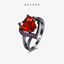 2019 Trendy Bloody Marry Heart Shaped Zirconia Ring Plated with Black Gold Sexy Romantic Solitaire