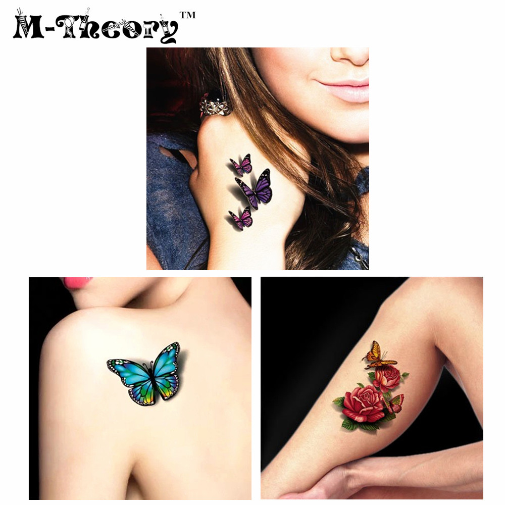Super Real 3d Temporary Tattoo Body Art 34 Style Flash Tattoo Stickers 19*9cm Waterproof Tatto Henna Fake Tatoo Wall Sticker