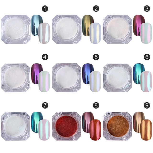BORN PRETTY Mirror Nail Glitter Pigment Powder 1g Gold Blue Purple Dust Manicure Nail Art Glitter Chrome Powder Decorations