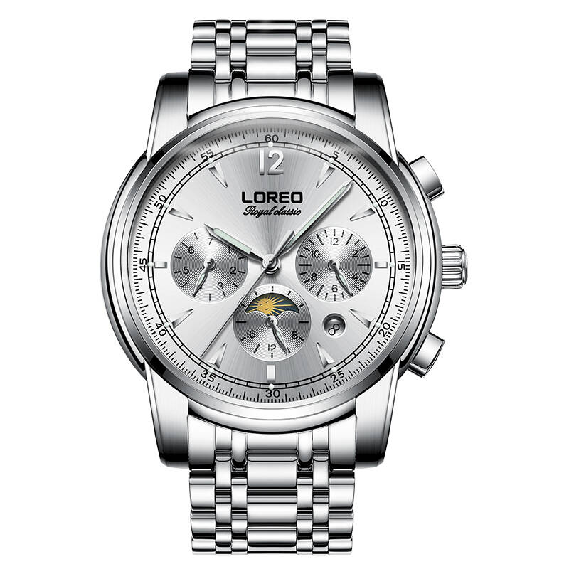 LOREO 6105 Germany watches automatic mechanical moon phase sapphire luminous silver stainless steel relogio masculinoLOREO 6105 Germany watches automatic mechanical moon phase sapphire luminous silver stainless steel relogio masculino