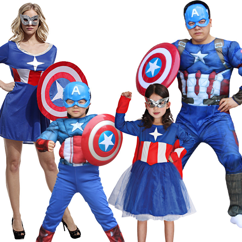 Halloween Children Cosplay Costume Captain America Super Hero Parent-Child Set Performance Cosplay Clothes Suit Kids Adult S-5XL