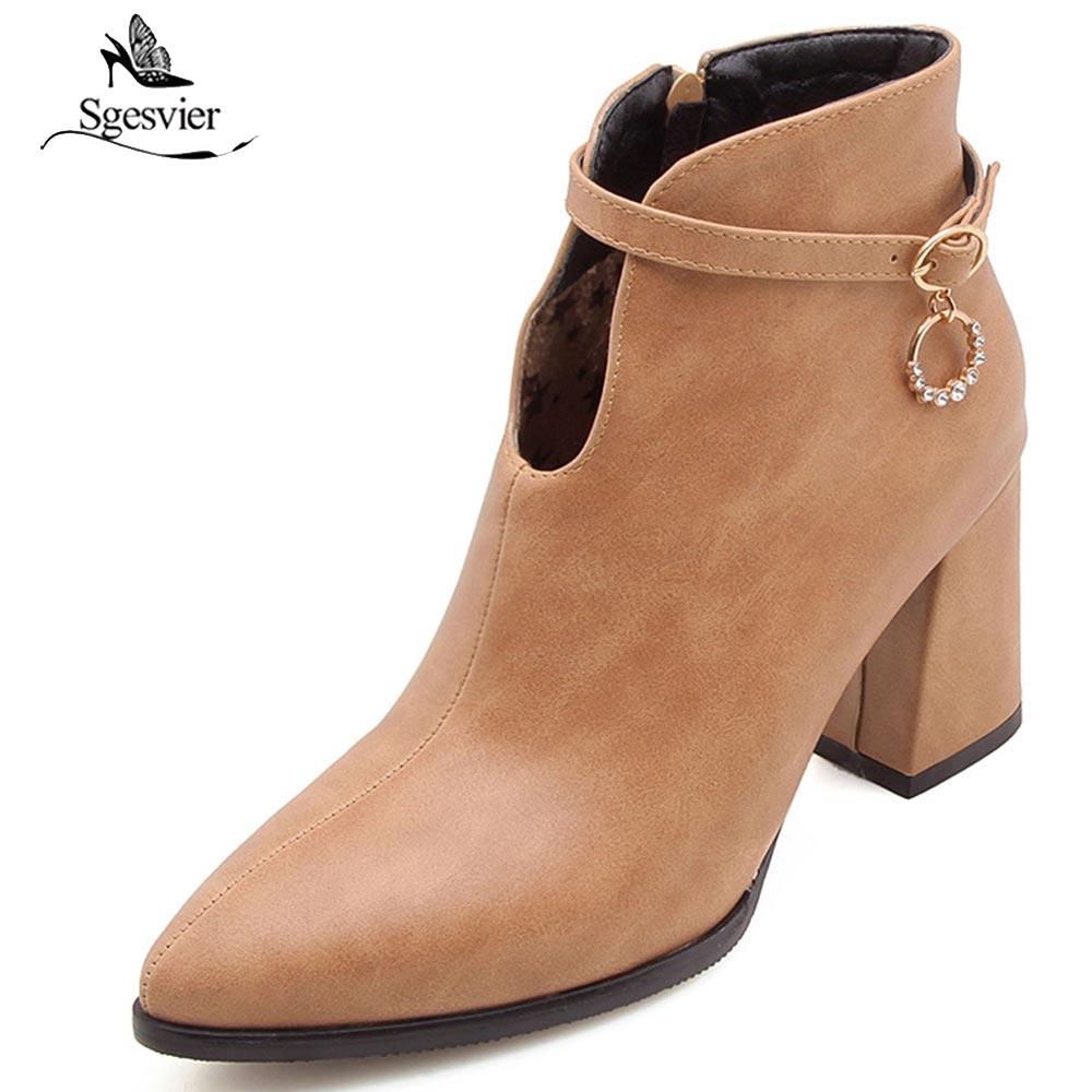 Sgesvier Women Motorcycle Boots Fashion Women Shoes Zipper