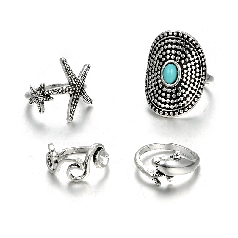 HuaTang Bohemian Antique Silver Ring Geometric Elephant Flower Green Rhinestone Knuckle Rings Midi Finger Anel Rings Jewelry 111